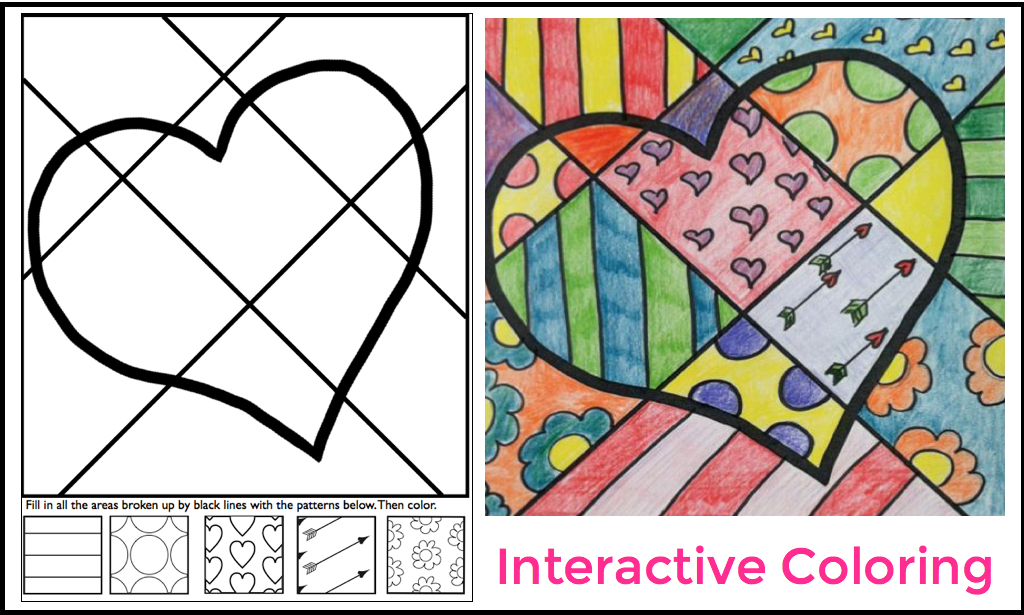 Free Pop Art Heart Interactive Coloring Sheet