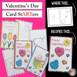 Valentine's Day card stARTers from Art with Jenny K. Get the creative juices flowing in your students with these fun and easy card stARTers!