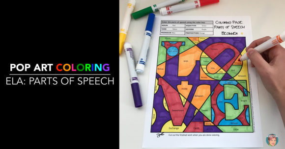 Parts of speech coloring page.