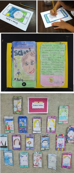 """All About Me"" student selfie art integration activity. Lesson includes drawing and writing and final results make a great classroom bulletin board display!"