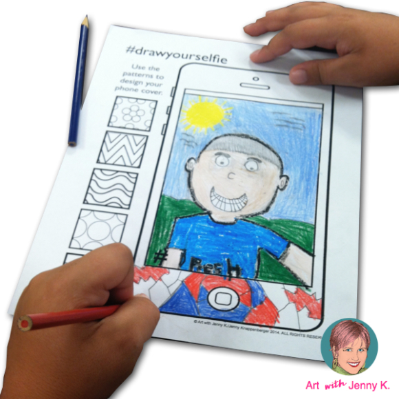 "Great art integration activity combining elements of drawing and writing for a contemporary, fun ""All About Me"" lesson. Students draw their self portraits on an iPhone template to create a ""selfie"" and then describe themselves via writing text messages."