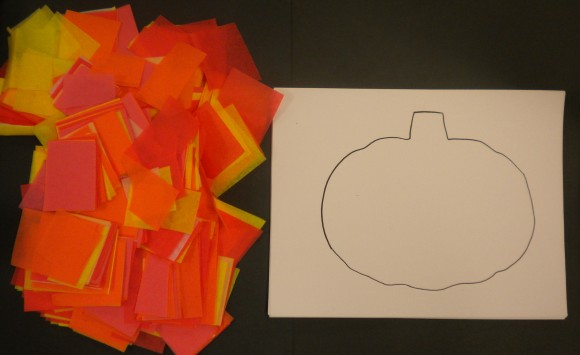 "Tissue paper pumpkins from ""10 Halloween Art Lessons for Kids."""