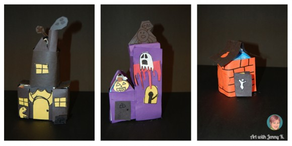 halloween haunted houses made out of milk cartons from the school lunch room - Halloween Art For Kindergarten