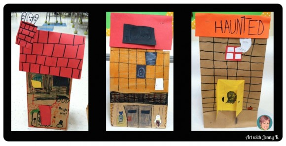 "Brown bag haunted houses from ""10 Halloween Art Lessons for Kids."""