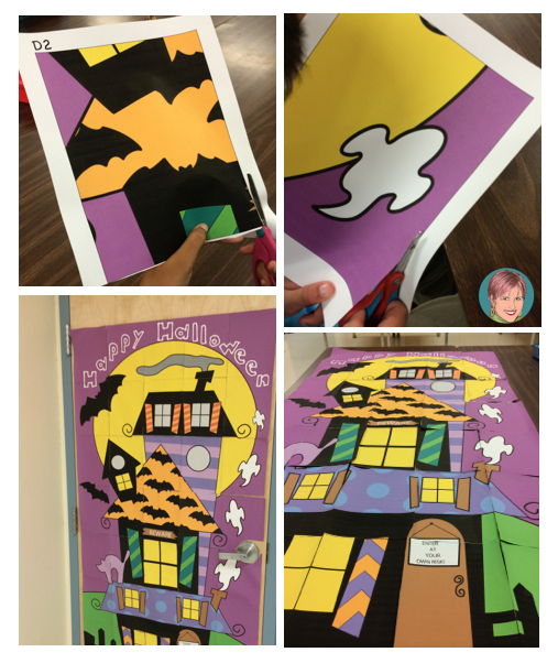 Classroom collaborative door poster gets everyone involved in Halloween decorating!