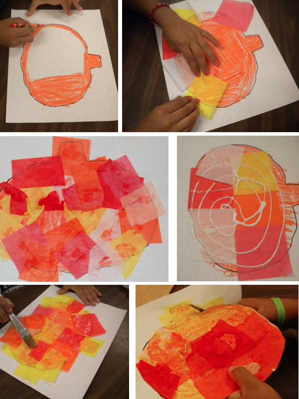 "Making tissue paper pumpkins from ""10 Halloween Art Lessons for Kids."""