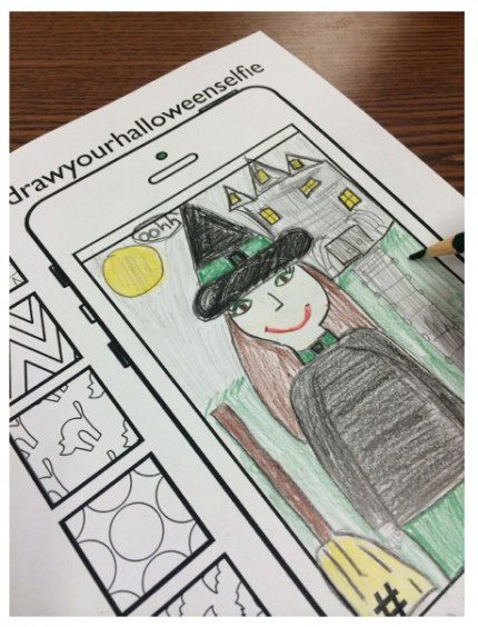 "Fun, engaging Halloween-themed student selfie activity from ""10 Halloween Art Lessons for Kids."""