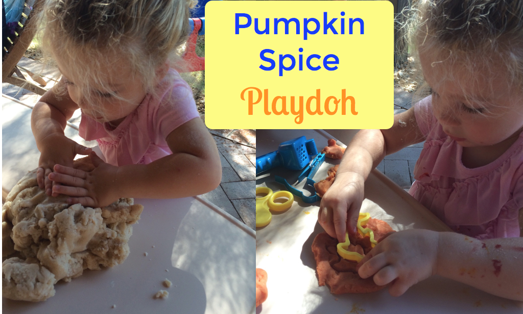 Make your own pumpkin spice playdoh. Excellent fall activity for toddlers.