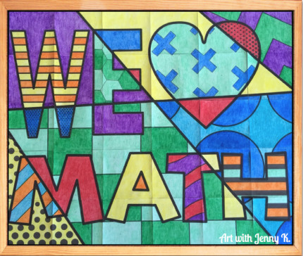 we love math poster on bulletin board from Art with Jenny K.