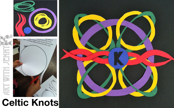 March Art Activities: Celtic Knot St. Patrick's Day art project