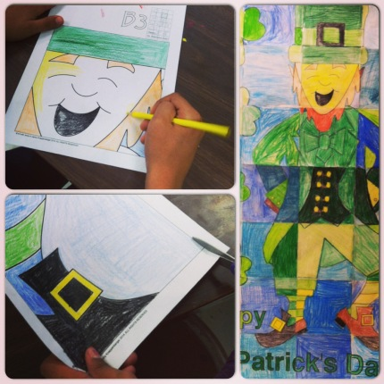 March art activities: Leprechaun collaboration door poster.