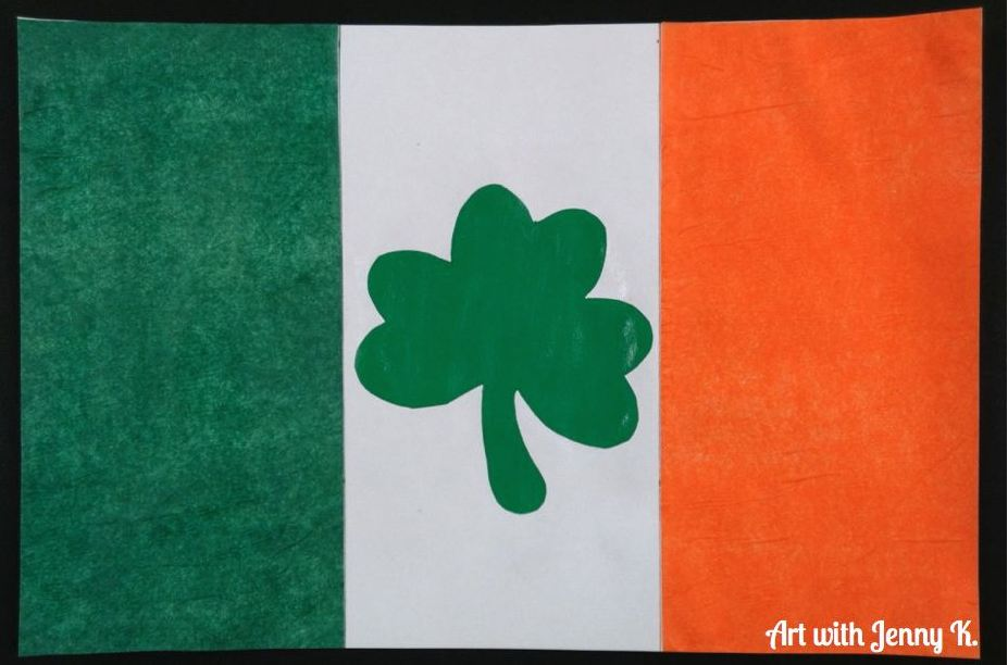 Irish flag using tissue paper.001