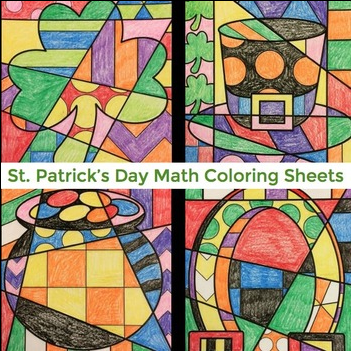 St. Patrick's Day math fact practice coloring sheets - March art activities.