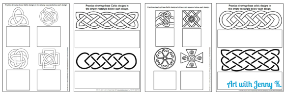 Free Celtic knot drawing practice