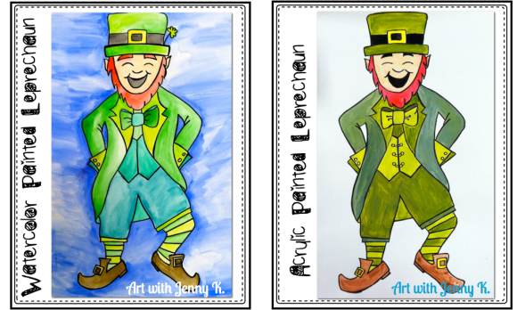March art activities: How to draw and paint a monochromatic leprechaun.