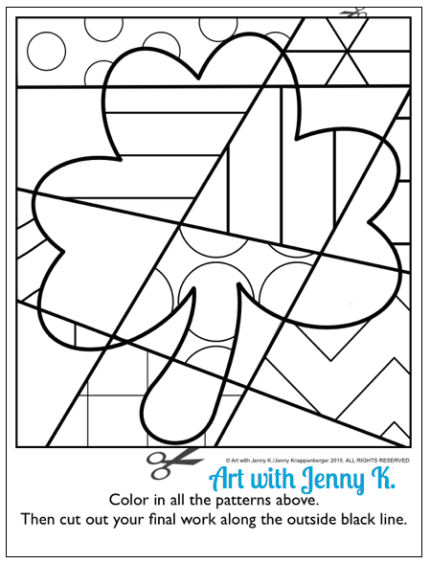 FREE pattern filled shamrock coloring sheet from art with Jenny K. Great for your March art activities!