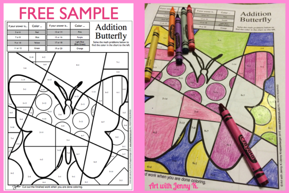 Free spring math coloring sheet sample from Art with Jenny K.