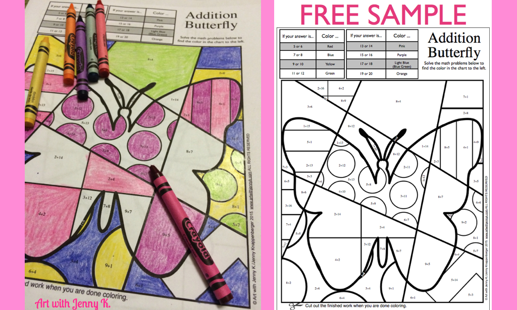 Art with Jenny K. FREE math coloring sample for Spring