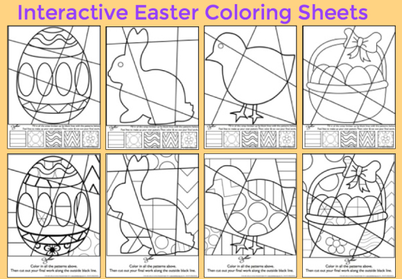 easter interactive coloring sheets from art with jenny k