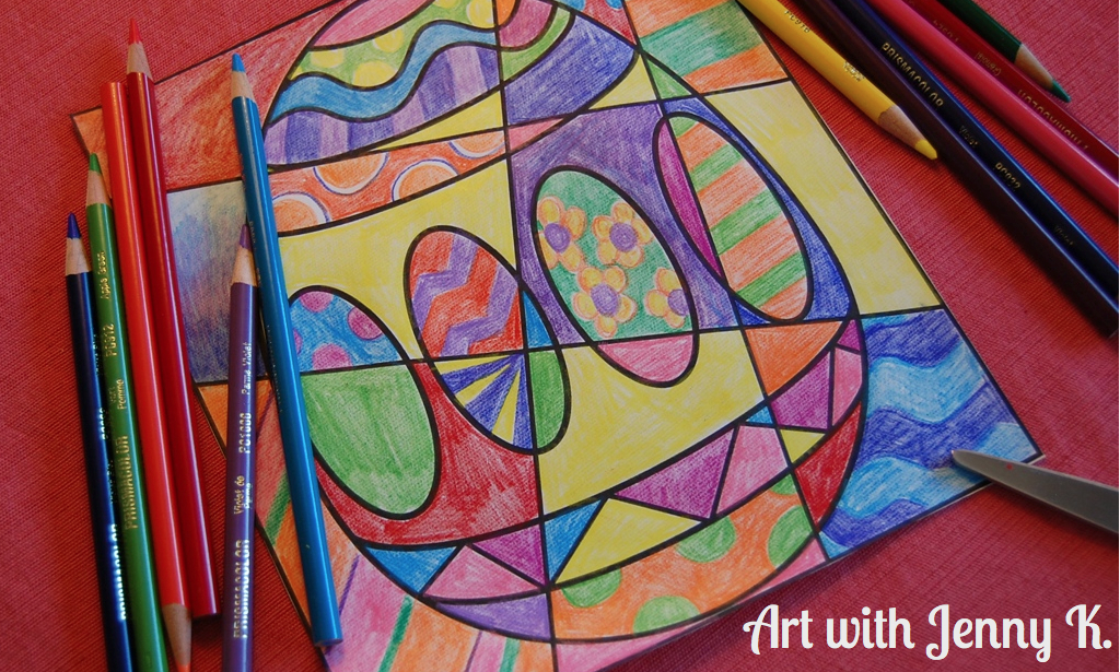 Easter coloring sheets from Art with Jenny K. Video.