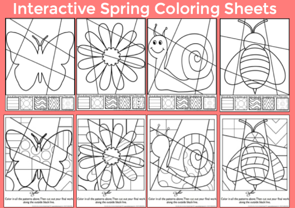 Spring interactive coloring sheets from Art with Jenny K.