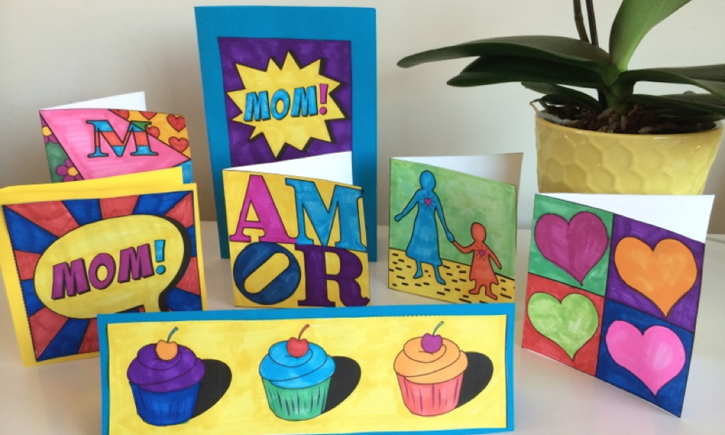 Make Pop Art Mother's day cards with your students.