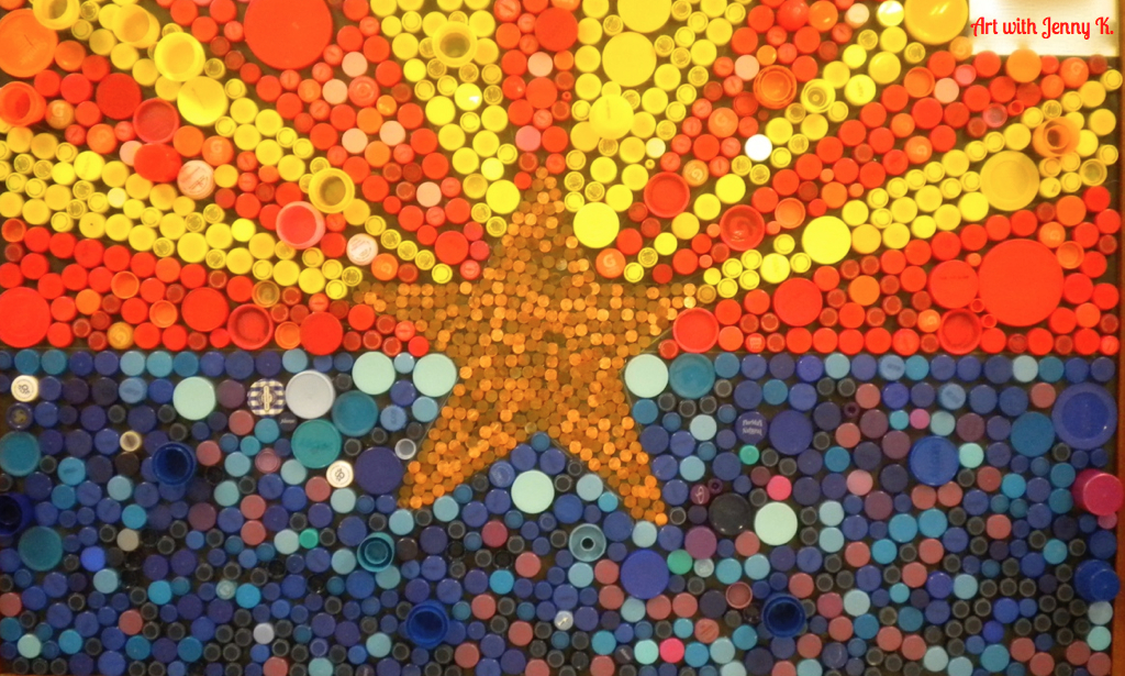 Resuse old bottle tops and create your state flag. Great collaboration project!