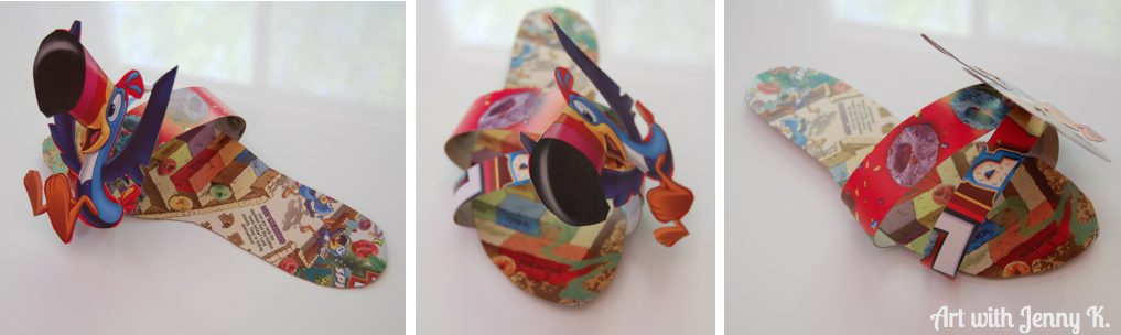 Earth day art: Cereal Box shoes. Kids design their own shoes using cereal boxes. Reuse a common material and see how they respond!
