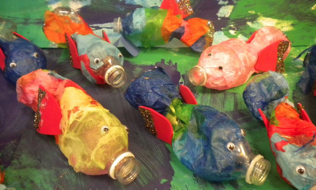 Water bottle fish for Earth Day art project. Recycle , reuse and inspire creativity!