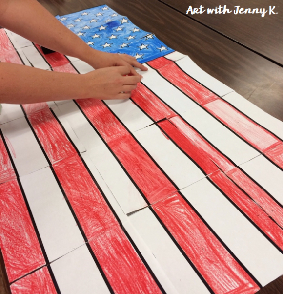 Free collaborative American Flag for patriotic holidays such as Memorial Day, Veterans day and President's Day. Each student gets to color one piece of the final poster to create the American Flag.