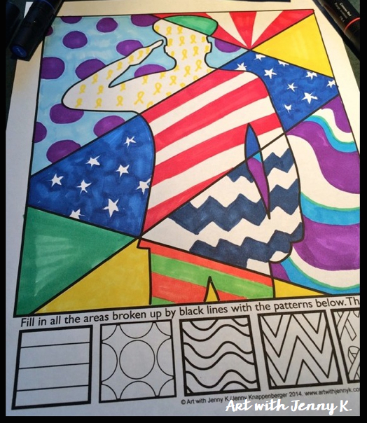 Memorial day art projects for kids. Interactive coloring sheets with patriotic symbols from Art with Jenny K.