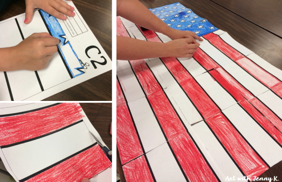 Free American Flag collaborative poster - Memorial day art projects for kids from Art with Jenny K.