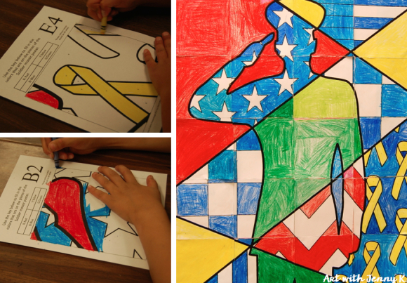 Memorial day art projects for kids. Collaborative group Soldier poster from Art with Jenny K.