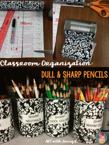 Classroom organization tips sharp and dull pencil system for colored pencils and regular pencils