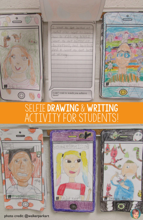 All About Me Selfie drawing and writing activity for students.