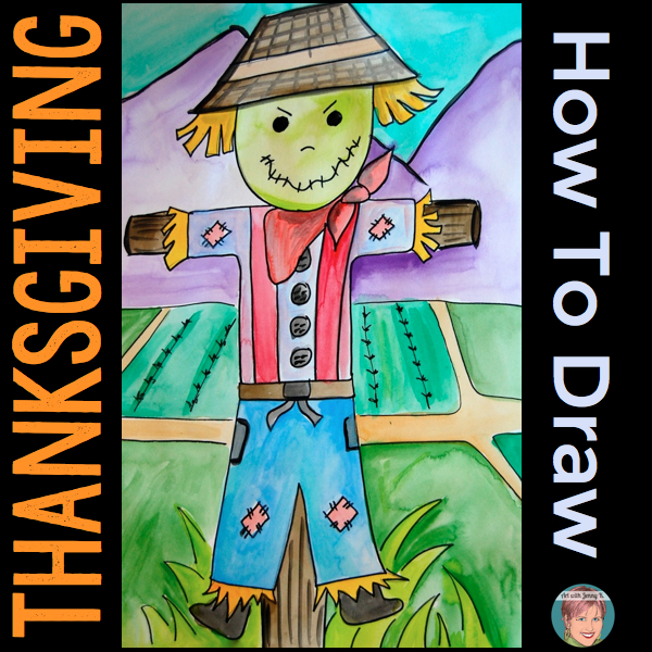 How to draw Thanksgiving pictures. Free instructions and handouts for drawing a scarecrow. pilgrims and turkeys.