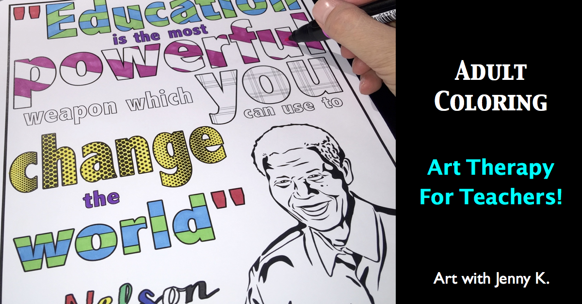 Free adult coloring pages or teachers. Adult coloring - art therapy for teachers.