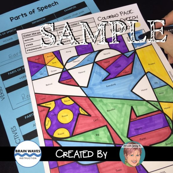 Parts of speech coloring pages art with jenny k for Speech coloring pages