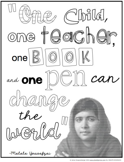 FREEBIES: Malala Yousafzai Classroom Activities - free coloring page.