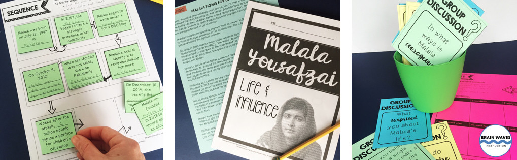 Malala Yousafzai Classroom Activities. ELA - Listening comprehension, sequencing, writing, quote analysis and group discussion.