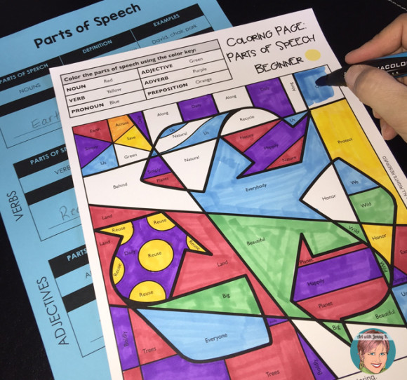 Parts of speech coloring pages. FREE SAMPLES included.