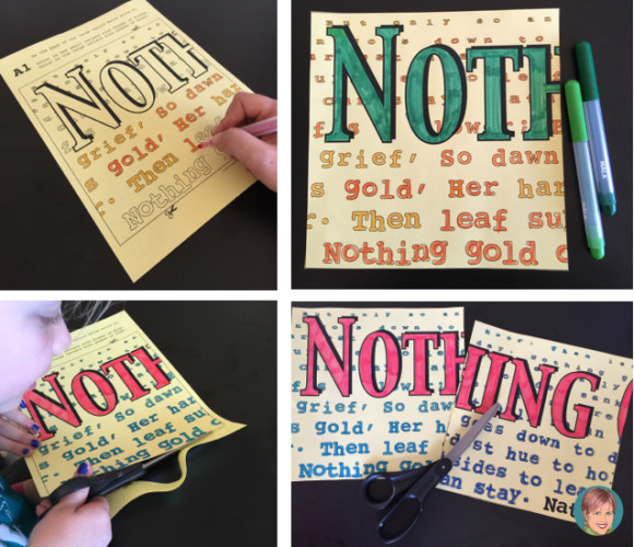 Robert Frost activities and art projects with a FREE quote reflection and coloring page. Collaboration poster - Nothing Gold Can Stay.