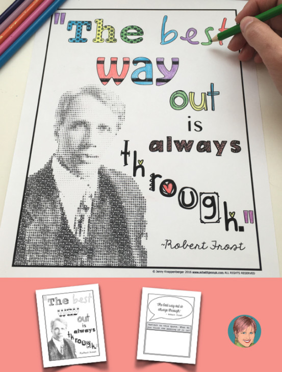 FREE Robert Frost coloring page and quote reflection. Fun and easy Robert Frost Activities.