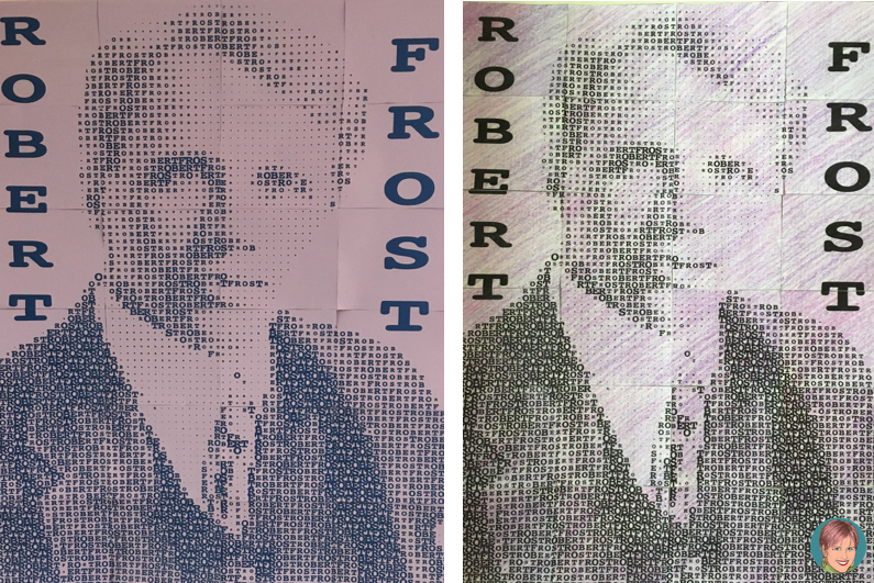 Robert Frost art project and FREE quote reflection and coloring page. Robert Frost collaboration portrait poster.