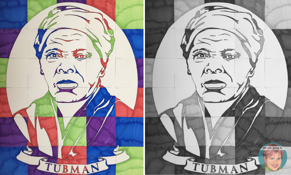 Harriet Tubman Activity: Collaboration Poster from Art with Jenny K. Coloring version for young students and drawing version for older.