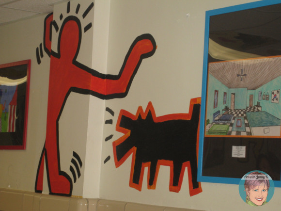 Keith Haring art project for kids. Community Keith Haring hallway art project.