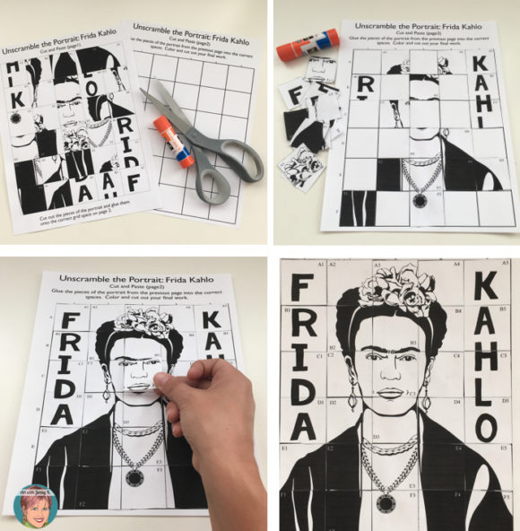 Free Frida Kahlo coloring, drawing and unscramble activities.