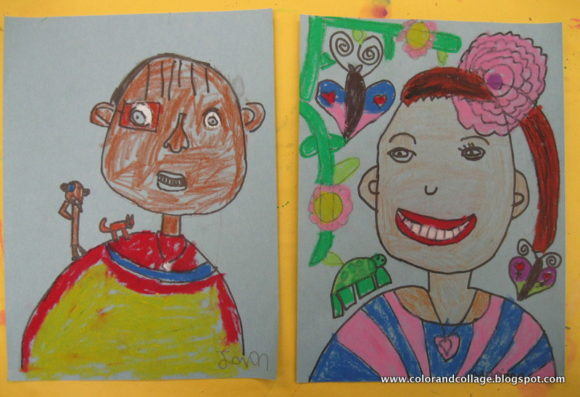 Frida inspired self portraits for first grade.