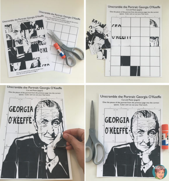 Georgia O'Keeffe art project - collaborative portrait poster. FREE Bonus Materials.