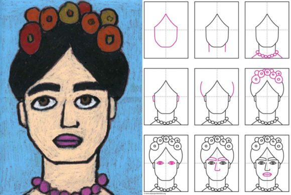 Art projects for Kids - Drawing Frida.